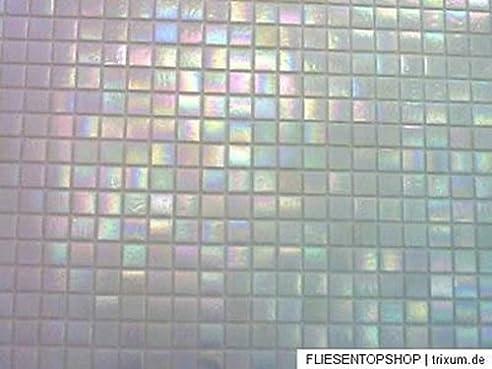 Fliesentopshop Glasmosaik Fliesen Mosaik Perlmutt Effekt - Weiß