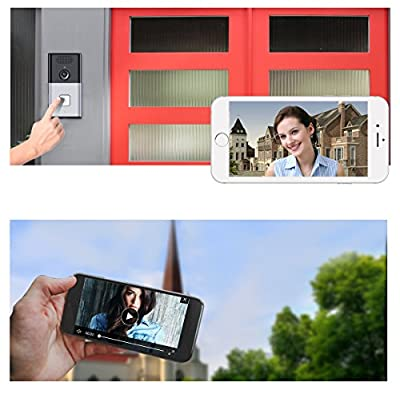 Wireless Doorbell, Whitelabel WiFi 720P HD Video Chime Home Security Camera with Day/Night Smart Auto REC in Free App - Black+Silver(Batteries Exclude)