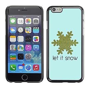 Cubierta de la caja de protección la piel dura para el Apple iPhone 6PLUS (5.5) - gold blue snow quote winter