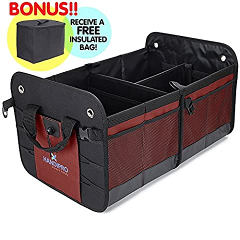 Premium Auto Trunk Organizer (Large) Heavy-Duty Car, Truck and SUV Storage   Compact Vehicle Compartment   11 Pockets, Adjustable Dividers, Bottle Straps   Incl. (Sub Cargo Organizer)