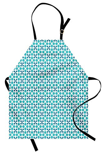 VCFUN Blue Green Adjustable Bib Aprons, Moroccan Star Tile Design Triangles Portuguese Azulejo Style Traditional Women/Men Kitchen Apron with Extra Long Ties for Chef Cooking Baking, Small