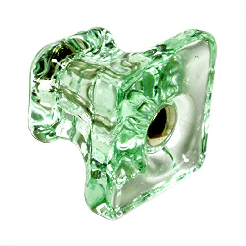 Vintage Glass Handles Kitchen Cabinet Knobs or Cupboard Drawer Pulls 6 Pack T83VF Green Square Knob with Polished Nickel Hardware. Romantic Decor & More