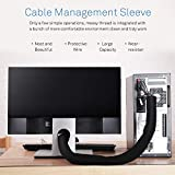 Cable Management Sleeve - Vivefox Neoprene Cable Organizer with Velcro Flexible Cord Wrap Covers Wire Hider Black & White, DIY by Yourself for TV Computer Home Office