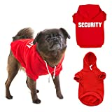 "Tough Hooded Dog | Prime Grade Breathable Cotton Fabric Hooded Dog Clothes with ""Security"" Printed and Hole for Leash on The Back 