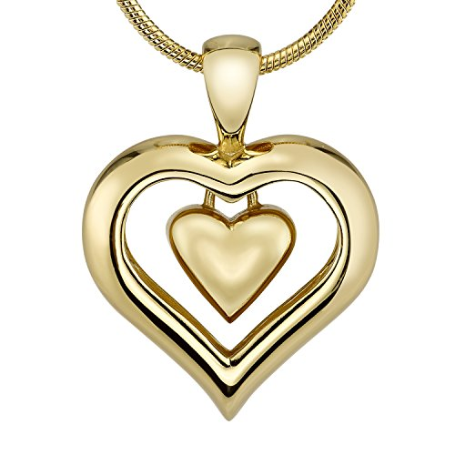 "The Eternity Heart 18kt Gold Finish Cremation Jewelry Urn Pendant Memorial Keepsake Necklace for Ashes with 20"" Snake Chain ()"