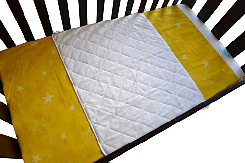 ILuvBamboo-Baby-Crib-Waterproof-Bamboo-Sheet-Saver-Soft-Protector-Cover-Pad-with-Long-Ties-for-Babys-Mattress-Enjoy-Peace-of-Mind-as-Your-Newborn-or-Twin-Babies-Sleep-Larger-than-Other-Crib-Pads