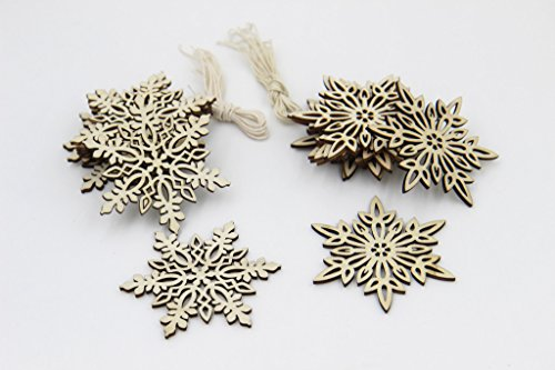 Decoupage Pad (Taousa 70466 Wooden Snowflake Christmas Decoration Hanging Ornament Pendant Cup Pad, Pack of 20)