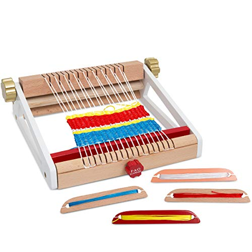 (FAO SCHWARZ Kids 8-Piece Arts and Crafts Weaving Loom Set: Create Your Own Weaves and Fabric Projects with Colored String; Kit Includes Loom Frame, 4 Colored String Bundles, 3 Wooden Shuttles, Ages 4+)