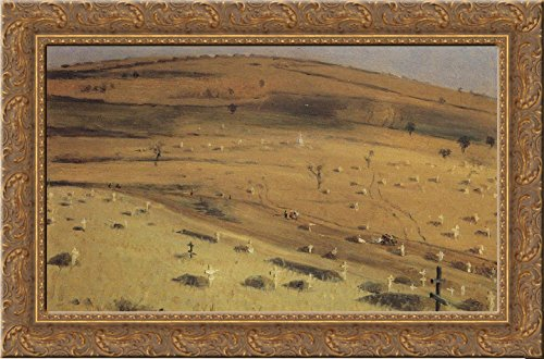 1877 Canvas Framed (Site of the Battle Fought on July 18, 1877 in front of the Krishin Redoubt near Plevna 24x18 Gold Ornate Wood Framed Canvas Art by Vasily Vereshchagin)