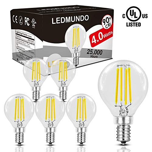 Incandescent Clear Glass Globe - Fully Dimmable 4W LED Globe Bulb - 90+Ra, Natural Daylight White 4000K 470LM, UL Listed, Flicker-Free 40W Incandescent Equivalent, E12 Base Clear Glass Light Bulbs, 360 Degree Beam Angle - 6 Pack