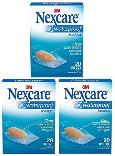 Nexcare Waterproof Clear Bandage, One Size, 20 Count Package (Pack of 3)