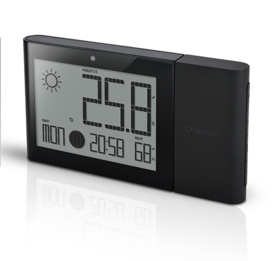 Oregon Scientific Weather Station with Indoor/Outdoor Temp and Humidity Atomic Clock BAR268GH (Black) by Oregon Scientific