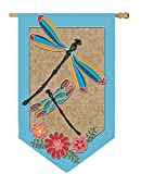 Dragonflies and Flowers Shaped Burlap Applique House Flag For Sale