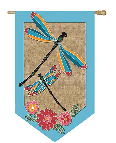 Evergreen Butterfly House (Dragonflies and Flowers Shaped Burlap Applique House Flag)