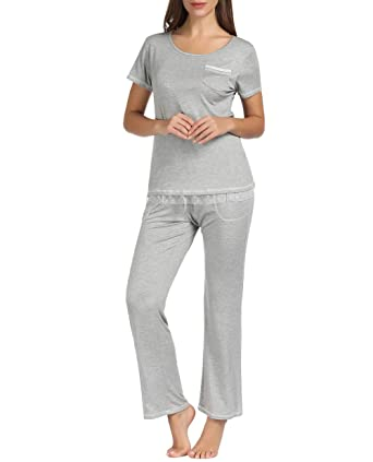 0136180507066b Zexxxy Women Modal Pajamas, Soft Pyjama Set, Sleepwear Tops & Bottom Pjs  Set Nightwear Loungewear for Ladies(Gray, Size M) at Amazon Women's  Clothing store: