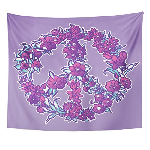 Tapestry Sign Peace Florals Hand Drawn Bloom | Purple Wall Deor