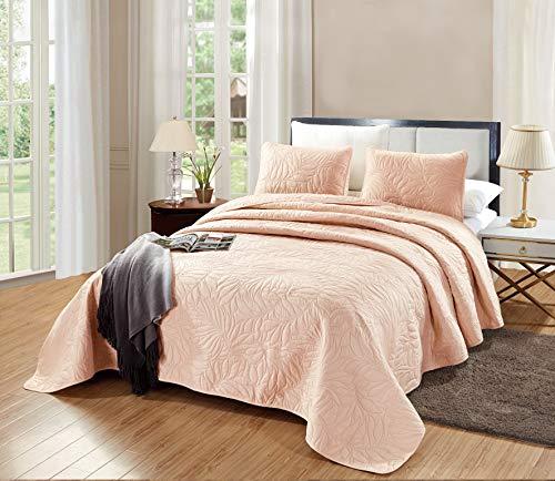 GrandLinen 3-Piece Bedding Savannah Quilt Set Solid Blush Pink King Size 118