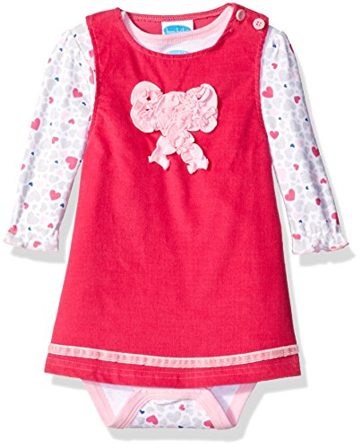Bon Bebe Baby Girls' 2 Piece Corduroy Jumper Set With Longsleeve Lap Shoulder Bodysuit, Pink hearts, 12 Months ()