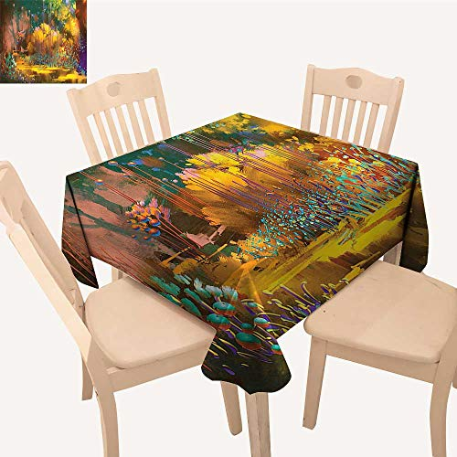 UHOO2018 100% Polyester Tablecloth Imaginary Psychedelic Feature Fairy Jungle Boho Square/Rectangle Multicolor,50x -
