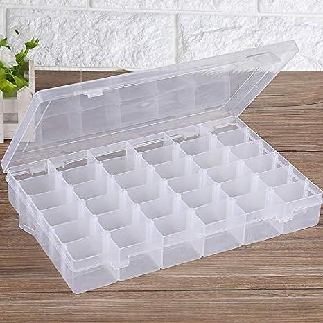 Caja de almacenamiento de plástico transparente con 36 rejillas y separadores ajustables para guardar pastillas, aretes, joyas, joyas, pequeñas cajas de almacenamiento: Amazon.es: Juguetes y juegos