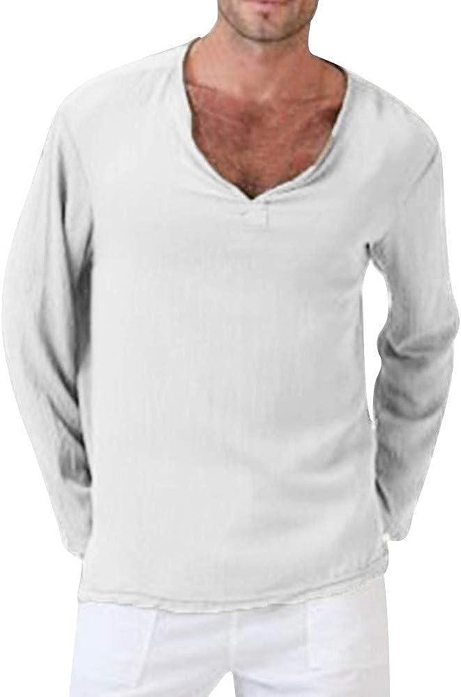 Alaso - Camiseta de Manga Larga para Hombre, Talla Grande, Cuello en V, Camiseta de Trabajo, Informal Blanco S: Amazon.es: Ropa y accesorios