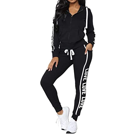 01e95f457f305 Women Tracksuit Sets 2 Pieces Outfits Stripe Long Sleeve Zipper T-Shirt Tops  and Long Pants Set Sweatshirt (Black2