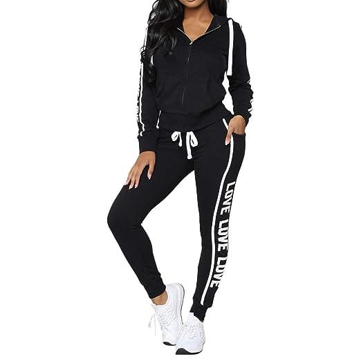 5b38bafc1f27 Women Sport Suits Active Top Bottom Sets Sweatshirt Pant 2 Piece Outfits  (US4/S
