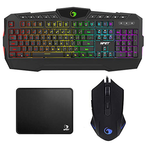 NPET S10 Gaming Keyboard, Gaming Mouse and Mouse Pad Combo, 114 Keys RGB Mechanical Feeling Keyboard with Wrist Rest, 6 Buttons Gaming Mouse with Tunable Weights, Compatible PC/Laptop/MAC/Computer ()