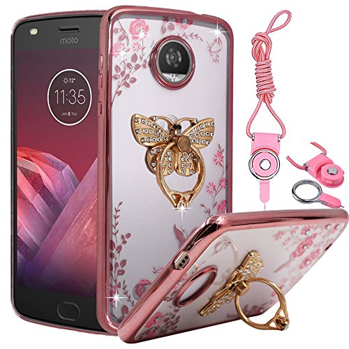 (Moto Z2 Force Case, BestAlice Slim Fit Soft Gel Bling Diamond TPU Case Metal Plating Bumper Cover & Lanyard Neck Strap Cord, Butterfly Ring Kickstand)