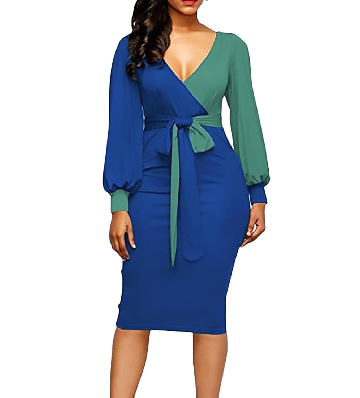 52b596f3a5 Vestidos Mujer Elegante Primavera Otoño Manga Larga V Cuello Slim Fit  Encima Rodilla Vestido Bicolor Cinturón Moda Casual Mujeres Coctel Dress