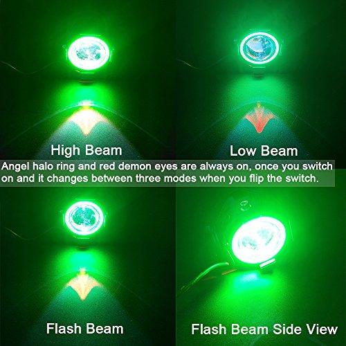 Motorcycle LED Headlight U7 Fog Light Spot light Driving Daytime Lights Running Light Angel Eyes Light Ring 2 Pack Green Angel Eyes