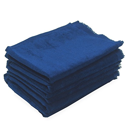 11x18 Fringed Fingertip Towel - 6 Pack - 11x18 Terry Velour Fingertip Towels W/fringed Ends 1.5# (NAVY - NB1118-F-6PK)
