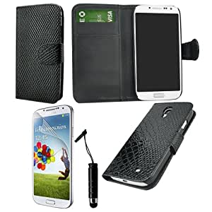In Angel Snackskin Wallet Folio Protector Case Cover for Samsung Galaxy S4 I9500 Provide 1 Screen Protector and 1 Stylus (In angel black)