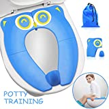 Upgrade Folding Large Non Slip Silicone Pads Travel Portable Reusable Potty Training Seat Suitable for Most Toilets,with Carry Bag for Toddlers and Kids, Blue: more info