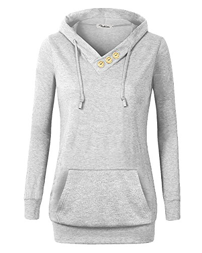 (VOIANLIMO Women's Sweatshirts Long Sleeve Button V-Neck Pockets Pullover Hoodies Silver L)