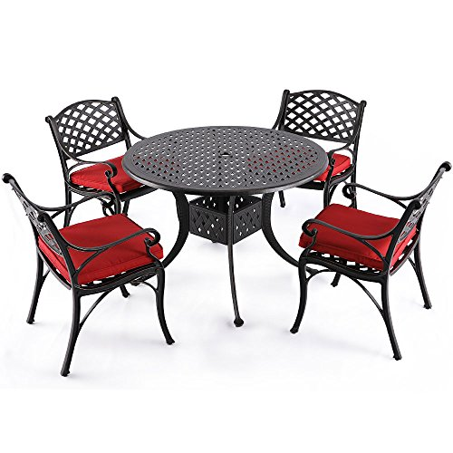 "Nuu Garden 5 Piece Outdoor Patio Solid Cast Aluminum Dining Conversation Set with 42"" Round Table and 4 Arm Chairs, Antique Bronze (red Cushions) SCD002-01-MH-0110"
