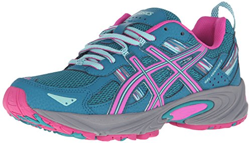 ASICS Women's Gel-Venture 5 Trail Runner, Ocean Depth/Pink Glow/Aruba Blue, 10 M US
