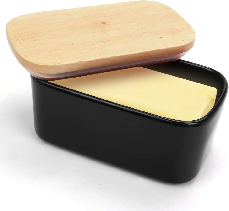 Ceramic Butter Dish with Lid,Large 650ml Porcelain Butter Keeper with Wood Lid,Airtight Black Butter Container for 2 Sticks of Butter,Modern Butter Holder for Refrigerator and Countertop