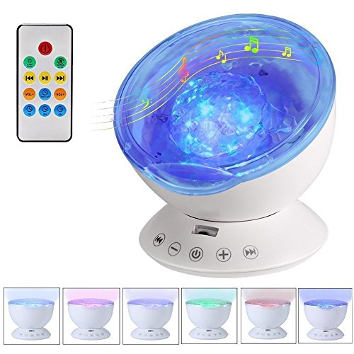 NEWBKO Color Remote Control Ocean Wave Projector,12 LED &7 Colors Night Light Projector, with Built-in Mini Music Player, for Living Room and Bedroom (White) by NEWBKO