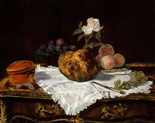 (JH Lacrocon Édouard Manet - Still Life with Pears and Apples Canvas Wall Art Rolled 50X40 cm (Approx. 20X16 inch) - Still Life Paintings Reproductions Prints)