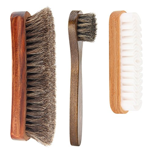 Codream Shoe Shine Brush Kit with Shoe Dauber, Soft Horsehair Bristles for Shoes