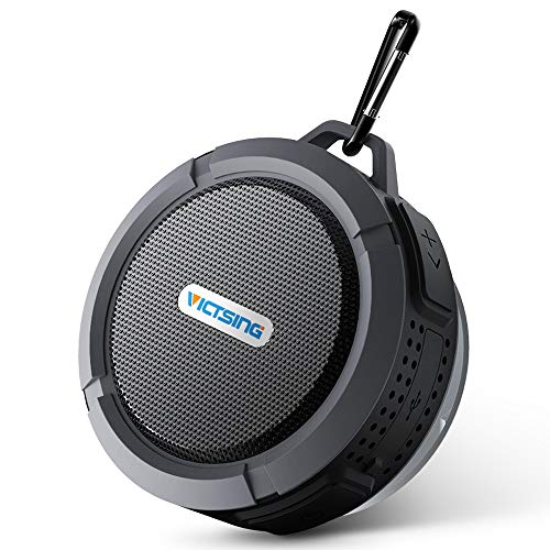 VicTsing Shower Speaker, Wireless Waterproof Speaker with 5W Driver, Suction Cup, Built-in Mic, Hands-Free Speakerphone – Grey