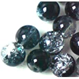 50 pieces 10mm Crackle Glass Beads - BLACK & CLEAR - A2013