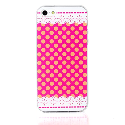 JewelryWe Polka Punkte Rosa TPU Silikon Handy Case Schutzhülle Tasche Hülle Rückenschutzhülle Etui für Apple iPhone 5/5S Transparent