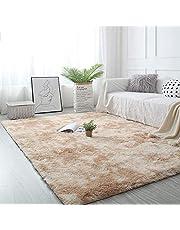 Pauwer Pluizig, dik gebied tapijt tapijt voor slaapkamer woonkamer ultra zacht antislip vloertapijt tapijt modern indoor pluche Shag tapijten voor thuis college slaapzaal (licht kaki, 120 x 160 cm)