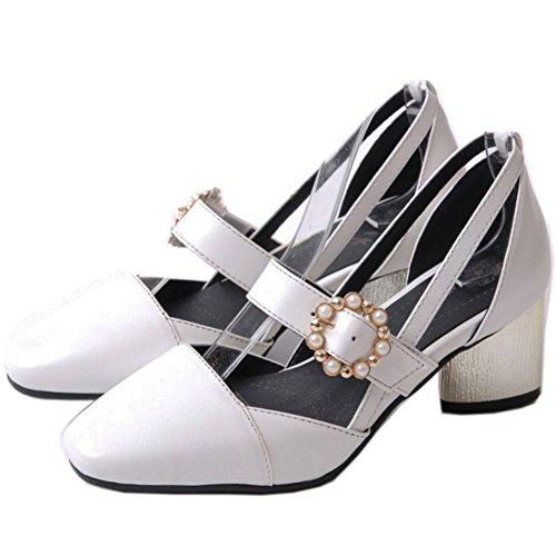 Coolcept Zapato Mujer Moda Al Tobillo Dedo del Pie Cerrado DOrsay Tacon Ancho Medio Sandalias Blanco