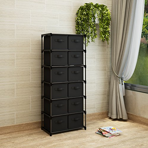 12 Drawer Chest - Home-Like 12-Drawer Storage Tower Unit DIY Storage Organizer Cabinet Multi-Purpose Storage Chest 6 Tier Metal Shelf with 12 Removable Fabric Bins Ideal for Home Office Bedroom (12-Drawer-Black)