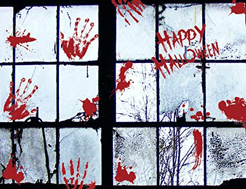 208 pcs Halloween Window Clings - Bloody Human Handprint and Footprint, Zombie Handprint and Footprint, Shoes Print Decals for Halloween Party Favor -