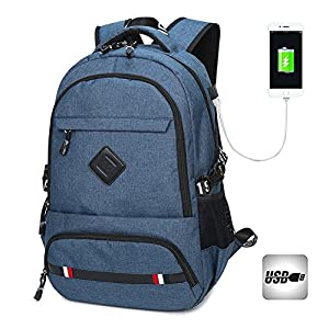Laptop Backpack, Promini Water Resistant Laptop Backpack with USB Charging Port School Bookbag for College Travel Business Backpacks for 15.6-Inch Laptop