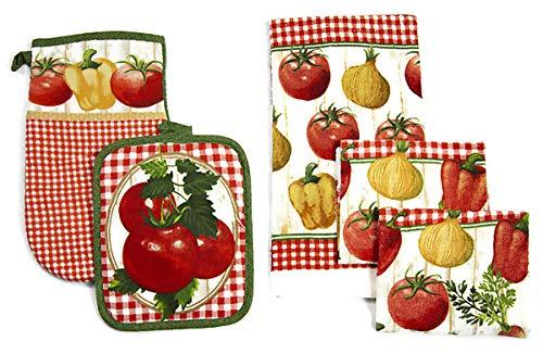 Kitchen Decor Linen Set Includes 1-Towel 1-Pot Holder 1-Oven Mit 2-Dish Cloths | Fresh Fruit Printed Kitchen Towel Set For Cooking, Baking, Housewarming & Kitchen Decoration (Set of 5 Piece)